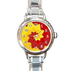 Flower Blossom Spiral Design  Red Yellow Round Italian Charm Watch by designworld65