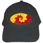 Flower Blossom Spiral Design  Red Yellow Black Cap