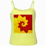 Flower Blossom Spiral Design  Red Yellow Yellow Spaghetti Tank