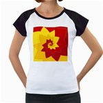 Flower Blossom Spiral Design  Red Yellow Women s Cap Sleeve T