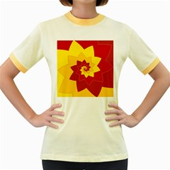 Flower Blossom Spiral Design  Red Yellow Women s Fitted Ringer T Shirts by designworld65