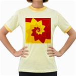Flower Blossom Spiral Design  Red Yellow Women s Fitted Ringer T-Shirts Front