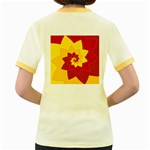 Flower Blossom Spiral Design  Red Yellow Women s Fitted Ringer T-Shirts Back