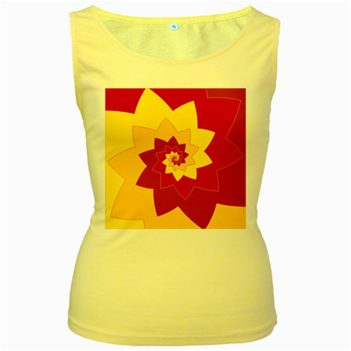 Flower Blossom Spiral Design  Red Yellow Women s Yellow Tank Top
