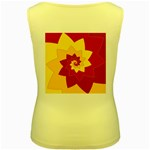Flower Blossom Spiral Design  Red Yellow Women s Yellow Tank Top Back