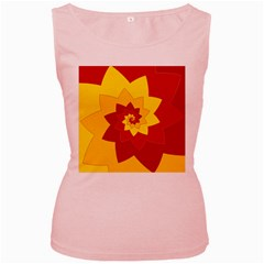 Flower Blossom Spiral Design  Red Yellow Women s Pink Tank Top