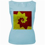 Flower Blossom Spiral Design  Red Yellow Women s Baby Blue Tank Top Front