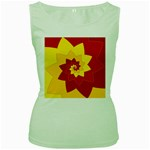 Flower Blossom Spiral Design  Red Yellow Women s Green Tank Top Front