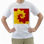 Flower Blossom Spiral Design  Red Yellow Men s T-Shirt (White) (Two Sided)