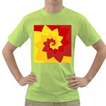 Flower Blossom Spiral Design  Red Yellow Green T-Shirt
