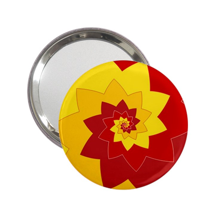 Flower Blossom Spiral Design  Red Yellow 2.25  Handbag Mirrors