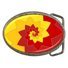Flower Blossom Spiral Design  Red Yellow Belt Buckles by designworld65