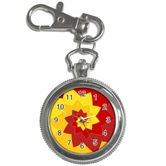 Flower Blossom Spiral Design  Red Yellow Key Chain Watches by designworld65