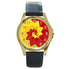 Flower Blossom Spiral Design  Red Yellow Round Gold Metal Watch by designworld65