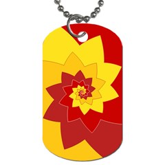 Flower Blossom Spiral Design  Red Yellow Dog Tag (two Sides) by designworld65