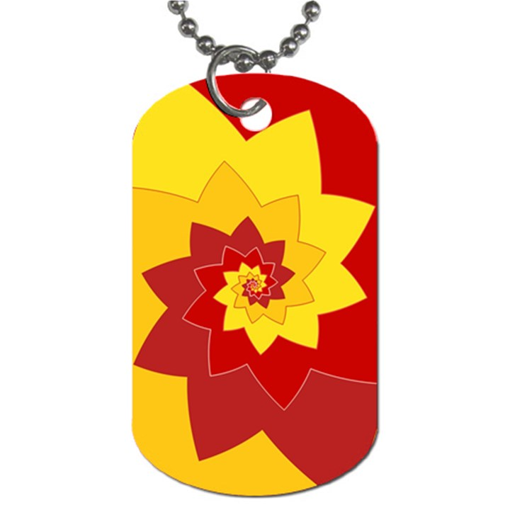 Flower Blossom Spiral Design  Red Yellow Dog Tag (Two Sides)