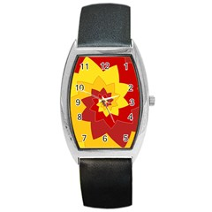 Flower Blossom Spiral Design  Red Yellow Barrel Style Metal Watch by designworld65