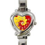 Flower Blossom Spiral Design  Red Yellow Heart Italian Charm Watch