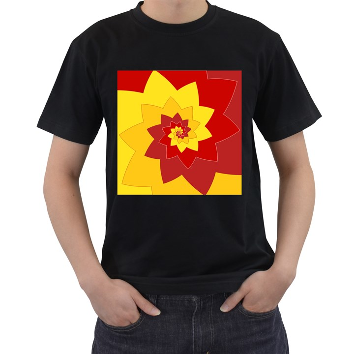 Flower Blossom Spiral Design  Red Yellow Men s T-Shirt (Black) (Two Sided)