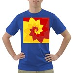 Flower Blossom Spiral Design  Red Yellow Dark T-Shirt