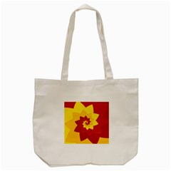 Flower Blossom Spiral Design  Red Yellow Tote Bag (cream) by designworld65