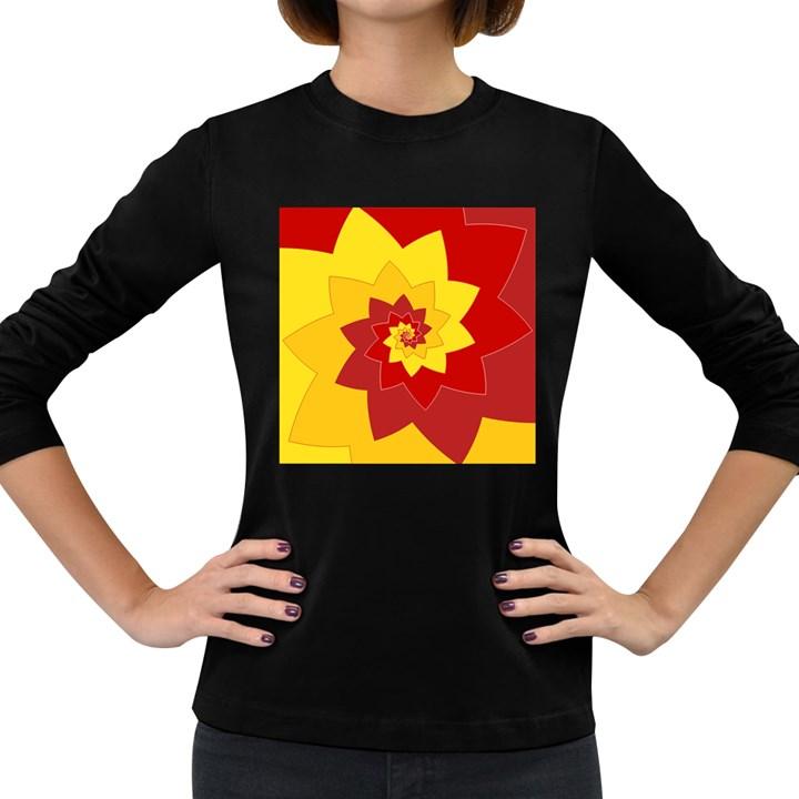 Flower Blossom Spiral Design  Red Yellow Women s Long Sleeve Dark T-Shirts