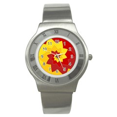 Flower Blossom Spiral Design  Red Yellow Stainless Steel Watch by designworld65