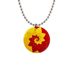Flower Blossom Spiral Design  Red Yellow Button Necklaces by designworld65