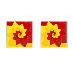 Flower Blossom Spiral Design  Red Yellow Cufflinks (square) by designworld65