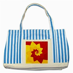 Flower Blossom Spiral Design  Red Yellow Striped Blue Tote Bag by designworld65
