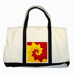 Flower Blossom Spiral Design  Red Yellow Two Tone Tote Bag by designworld65