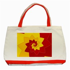 Flower Blossom Spiral Design  Red Yellow Classic Tote Bag (red) by designworld65