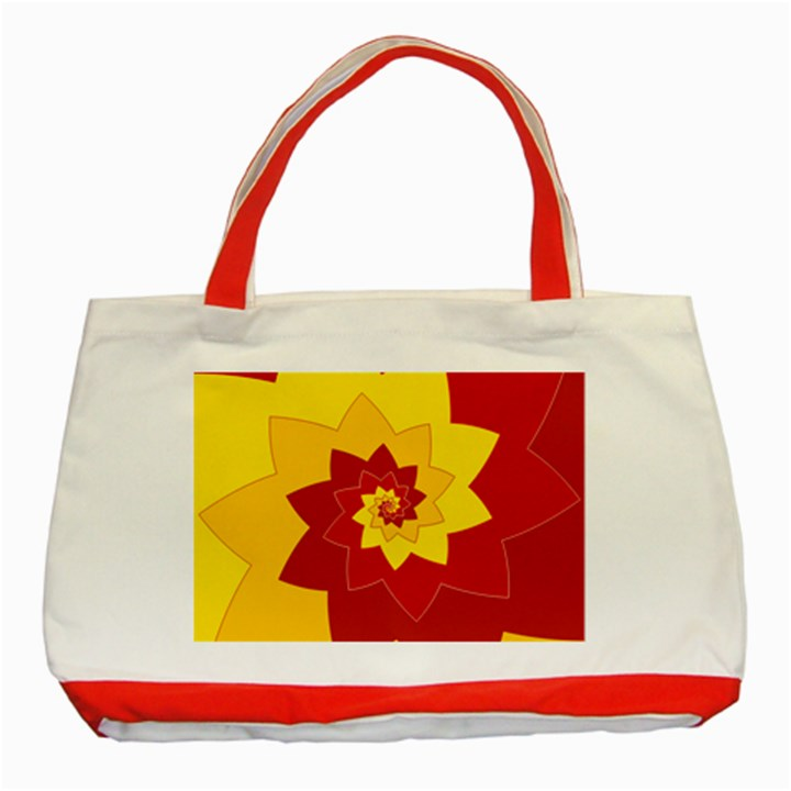 Flower Blossom Spiral Design  Red Yellow Classic Tote Bag (Red)