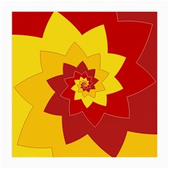 Flower Blossom Spiral Design  Red Yellow Medium Glasses Cloth by designworld65