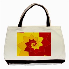 Flower Blossom Spiral Design  Red Yellow Basic Tote Bag (two Sides) by designworld65