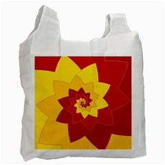 Flower Blossom Spiral Design  Red Yellow Recycle Bag (two Side)  by designworld65
