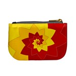 Flower Blossom Spiral Design  Red Yellow Mini Coin Purses Back