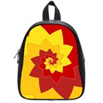 Flower Blossom Spiral Design  Red Yellow School Bags (Small)  Front