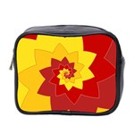 Flower Blossom Spiral Design  Red Yellow Mini Toiletries Bag 2-Side Front