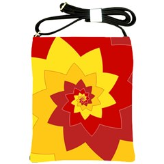 Flower Blossom Spiral Design  Red Yellow Shoulder Sling Bags by designworld65