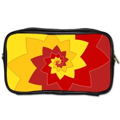 Flower Blossom Spiral Design  Red Yellow Toiletries Bags 2 Side by designworld65