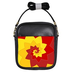 Flower Blossom Spiral Design  Red Yellow Girls Sling Bags by designworld65