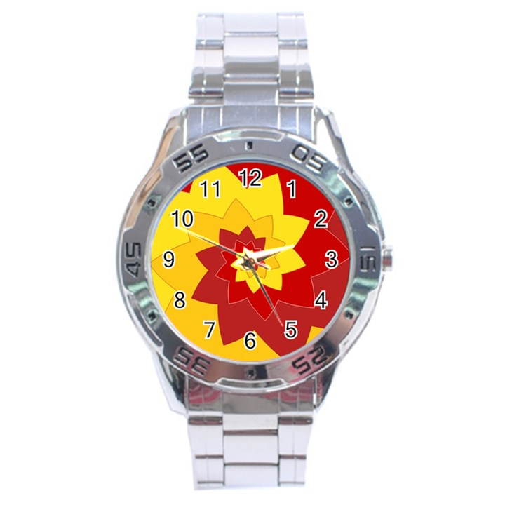 Flower Blossom Spiral Design  Red Yellow Stainless Steel Analogue Watch