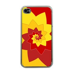 Flower Blossom Spiral Design  Red Yellow Apple Iphone 4 Case (clear) by designworld65