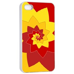 Flower Blossom Spiral Design  Red Yellow Apple Iphone 4/4s Seamless Case (white) by designworld65