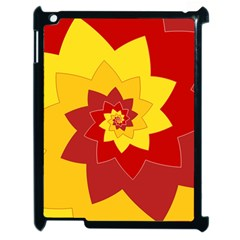 Flower Blossom Spiral Design  Red Yellow Apple Ipad 2 Case (black)
