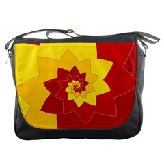 Flower Blossom Spiral Design  Red Yellow Messenger Bags by designworld65