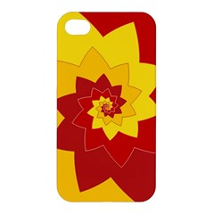 Flower Blossom Spiral Design  Red Yellow Apple Iphone 4/4s Premium Hardshell Case