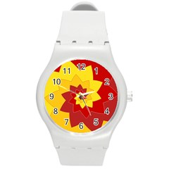 Flower Blossom Spiral Design  Red Yellow Round Plastic Sport Watch (m) by designworld65