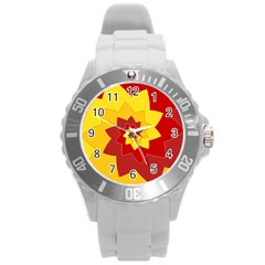 Flower Blossom Spiral Design  Red Yellow Round Plastic Sport Watch (l)